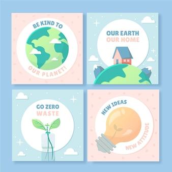 Ręcznie Rysowane Posty Na Instagramie Dotyczące Zmian Klimatu Darmowych Wektorów