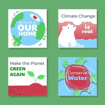 Ręcznie rysowane posty na instagramie dotyczące zmian klimatu