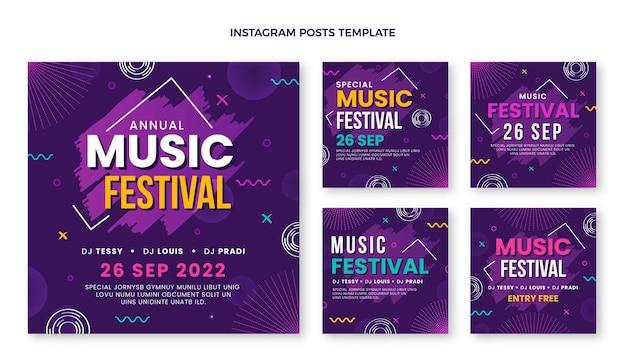 Ręcznie rysowane posty na instagramie kolorowych festiwali muzycznych