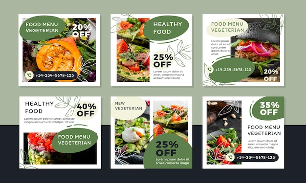 Ręcznie rysowane posty na instagramie o płaskiej konstrukcji wegetariańskie jedzenie