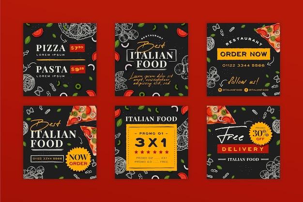 Ręcznie rysowane posty na instagramie włoskiego jedzenia