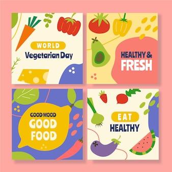 Ręcznie rysowane posty na instagramie z jedzeniem wegetariańskim