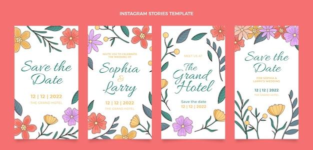 Ręcznie rysowane posty na instagramie z kwiatowym weselem