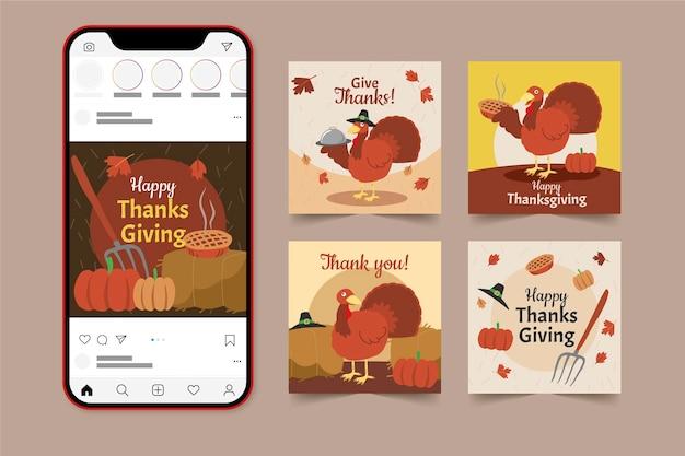 Ręcznie rysowane posty na instagramie z okazji święta dziękczynienia