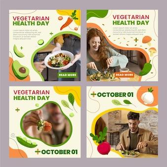 Ręcznie rysowane posty na instagramie z płaskim jedzeniem wegetariańskim