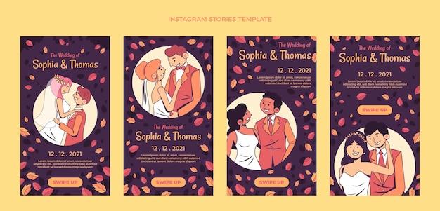 Ręcznie rysowane posty ślubne na instagramie