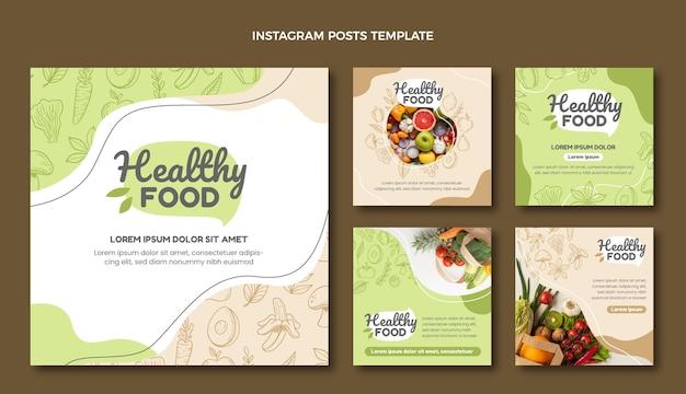 Ręcznie rysowane posty w mediach społecznościowych z jedzeniem