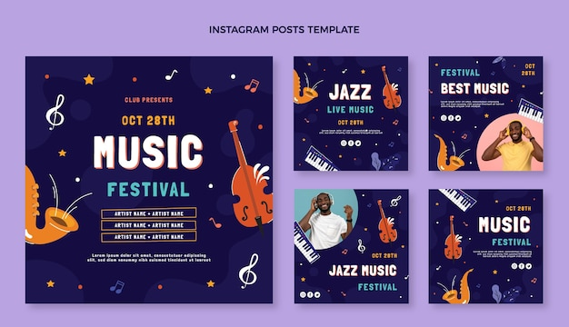 Ręcznie rysowane posty z festiwalu muzycznego na instagramie