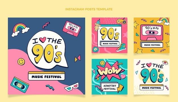 Ręcznie rysowane posty z festiwalu muzycznego z lat 90.
