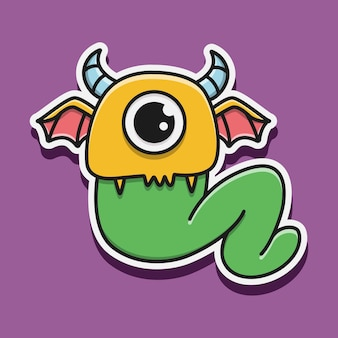 Ręcznie rysowane potwór kawaii
