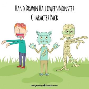 Ręcznie rysowane potwory halloween