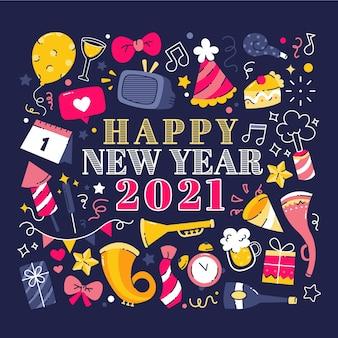 Ręcznie rysowane powitanie nowego roku 2021