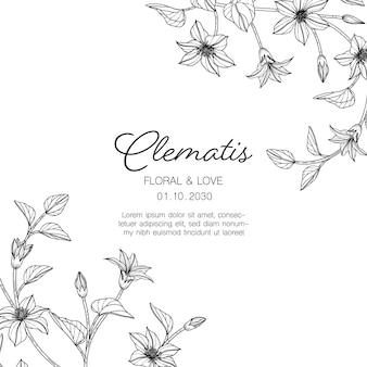 Ręcznie rysowane powojnik kwiatowy kartkę z życzeniami z grafiką na białym tle.