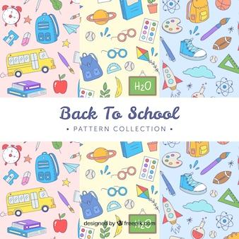 Ręcznie rysowane powrót do szkoły wzór kolekcji