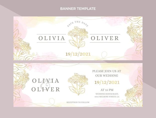 Ręcznie rysowane poziome banery ślubne