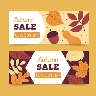 Ręcznie rysowane poziome banery sprzedaży jesień