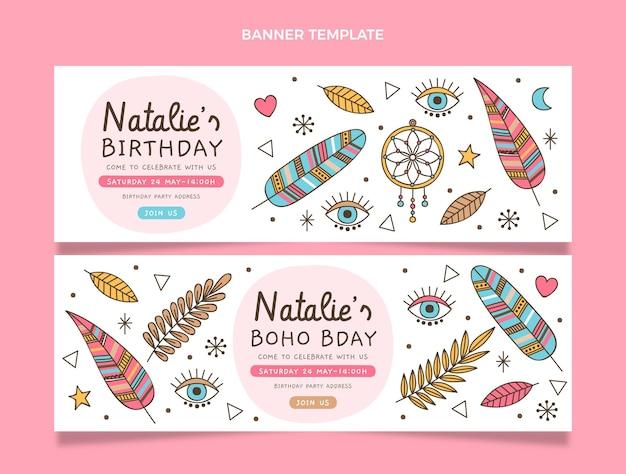 Ręcznie rysowane poziome banery urodzinowe