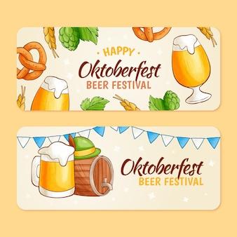 Ręcznie rysowane poziomy zestaw banerów oktoberfestfest