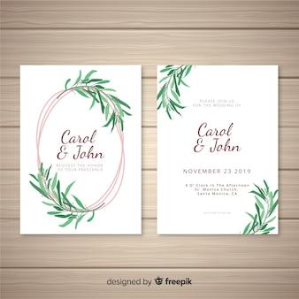 Ręcznie rysowane pozostawia szablon zaproszenia ślubne
