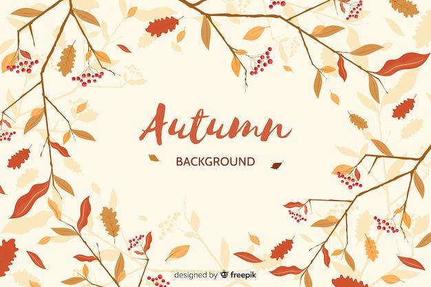 Ręcznie rysowane pozostawia tło jesień
