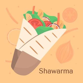 Ręcznie rysowane pożywne ilustracja shawarma