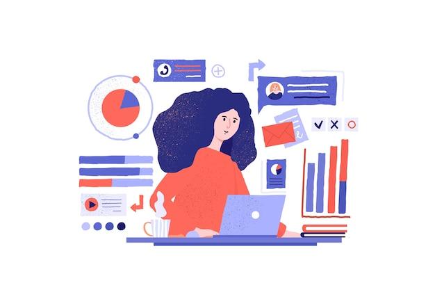 Ręcznie rysowane pracująca dziewczyna ilustracja