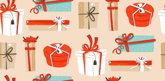 Ręcznie rysowane, prezent pudełko, kreskówka wzór
