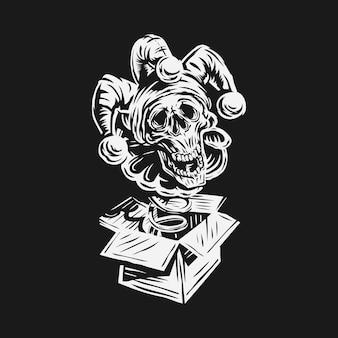 Ręcznie rysowane prima aprilis wektor. projekt klauna czaszki