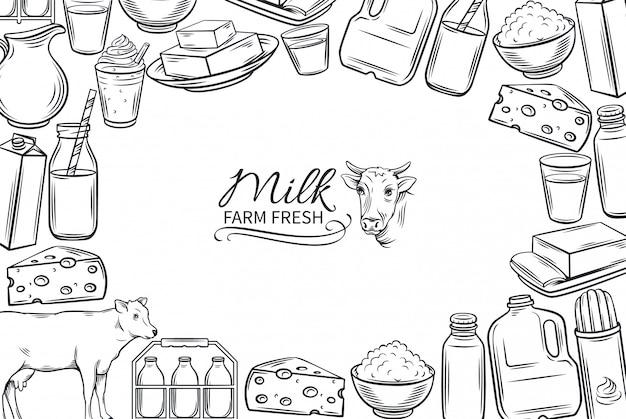 Ręcznie rysowane produkty mleczne