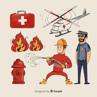 Ręcznie rysowane profesjonalny zespół ratunkowy