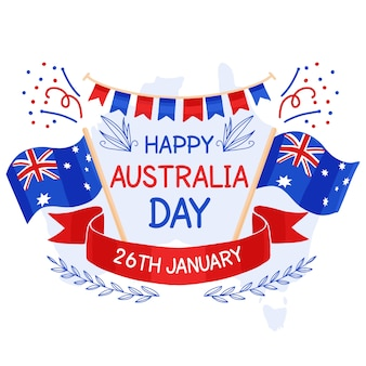 Ręcznie rysowane projekt australia dzień zdarzenia