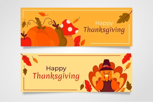 Ręcznie rysowane projekt banery dziękczynienia