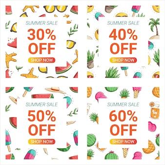 Ręcznie rysowane projekt doodle szablonów banerów promocyjnych lato