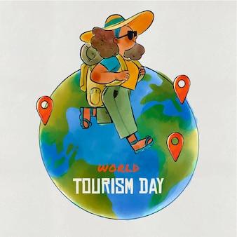 Ręcznie rysowane projekt dzień turystyki