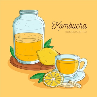 Ręcznie rysowane projekt herbaty kombucha