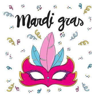 Ręcznie rysowane projekt imprezy mardi gras