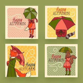 Ręcznie rysowane projekt jesień kolekcja kart