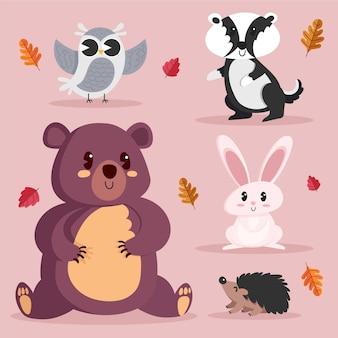 Ręcznie rysowane projekt jesienne zwierzęta leśne
