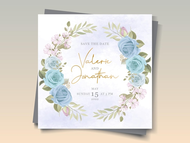 Ręcznie rysowane projekt karty ślubu z kwiatowymi ornamentami w kolorze niebieskim