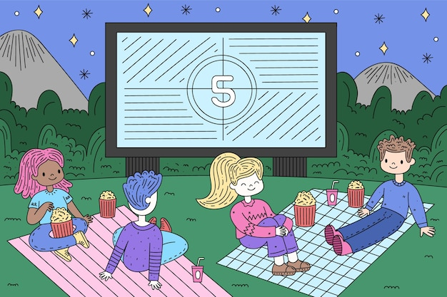 Ręcznie rysowane projekt kina na świeżym powietrzu