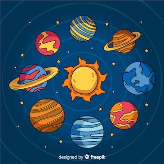 Ręcznie rysowane projekt kolekcji planet