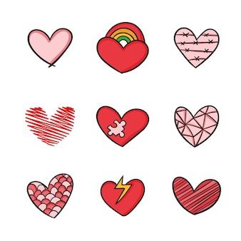 Ręcznie rysowane projekt kolorowa kolekcja serca