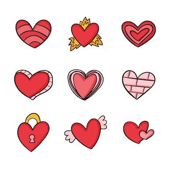 Ręcznie rysowane projekt kolorowy zestaw serca