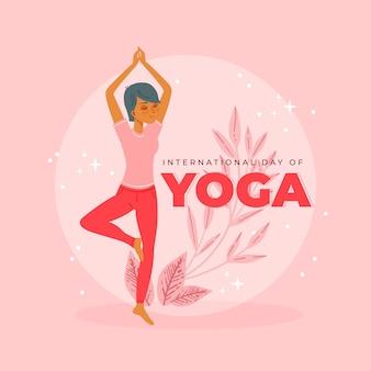 Ręcznie rysowane projekt międzynarodowy dzień jogi