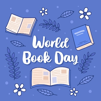 Ręcznie rysowane projekt na światowy dzień książki z napisem