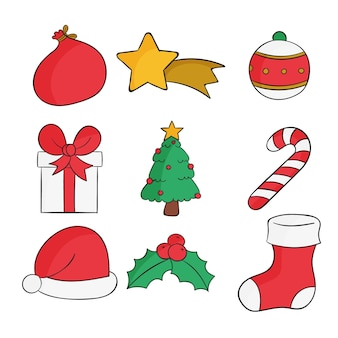 Ręcznie rysowane projekt pakiet elementów świątecznych
