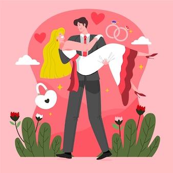 Ręcznie rysowane projekt pary ślubnej