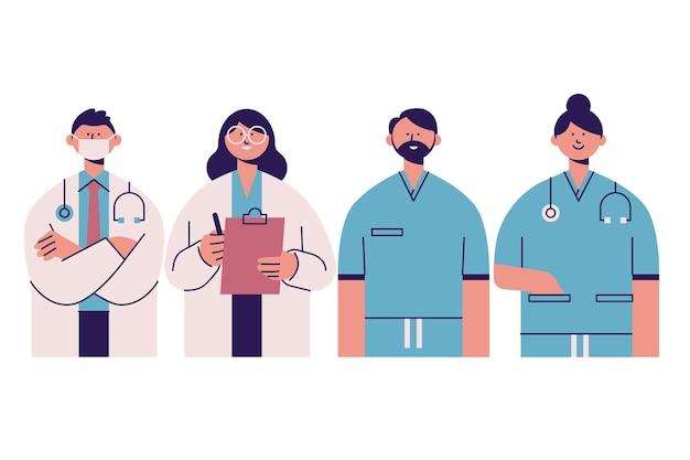 Ręcznie rysowane projekt pracowników służby zdrowia