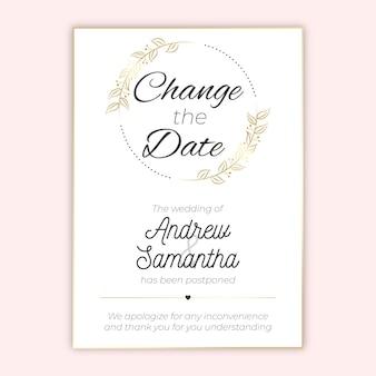 Ręcznie rysowane projekt przełożona karta ślubu