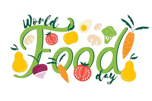 Ręcznie rysowane projekt światowego dnia żywności